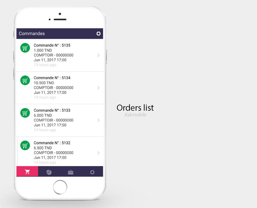 Application mobile Suivi de commandes